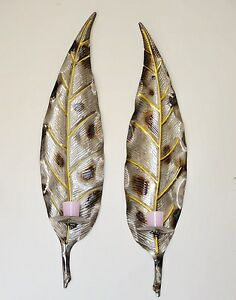 Image Is Loading Pair Of Large Metal Leaf Wall Art Pillar