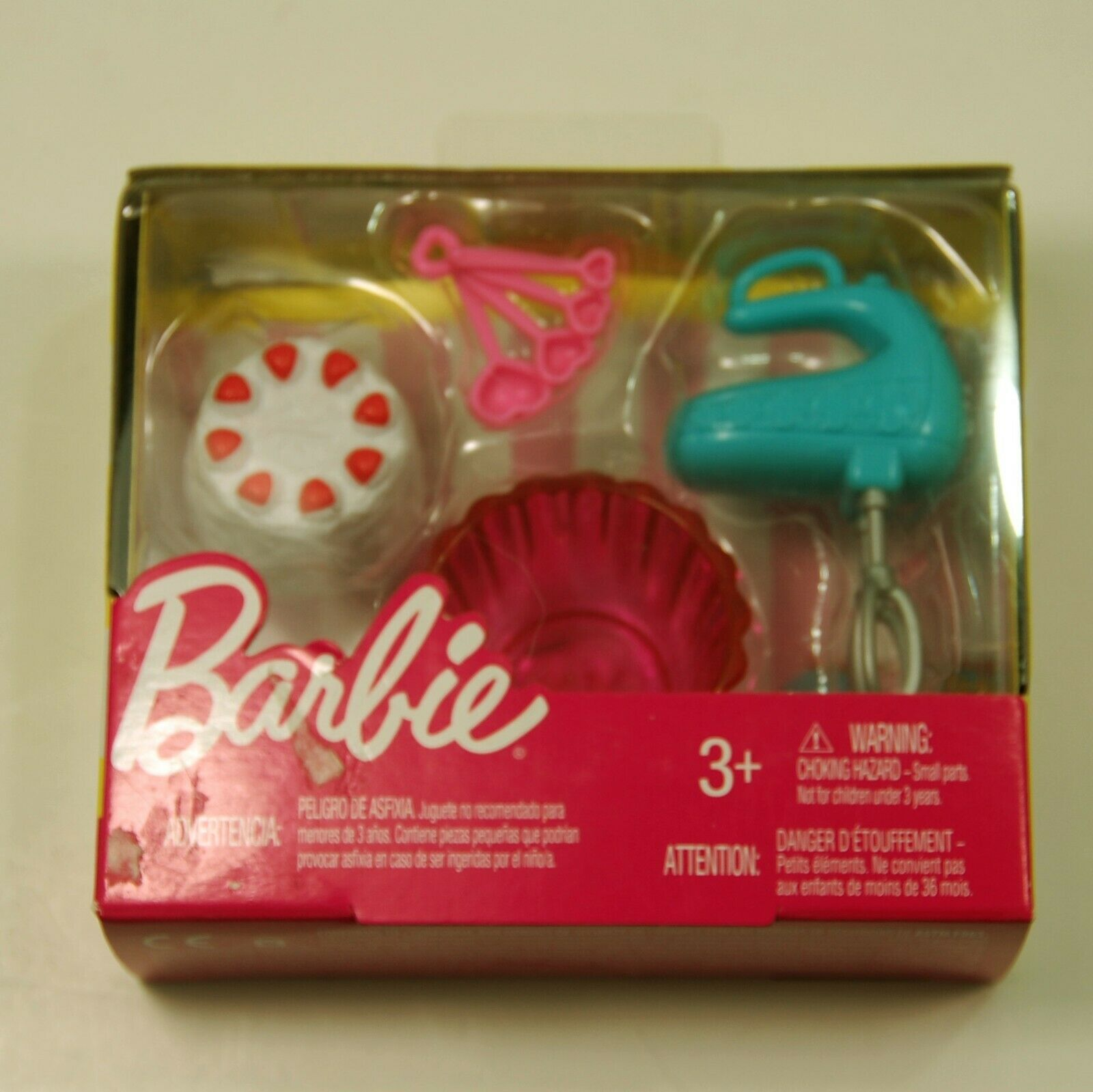Set of 3 Barbie Cooking Baking Accessory Breakfast Cake Pasta Mixer Food Kitchen