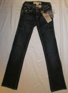 LAGUNA BEACH flap back pockets thick stitch straight leg stretchy jeans 24 NWT