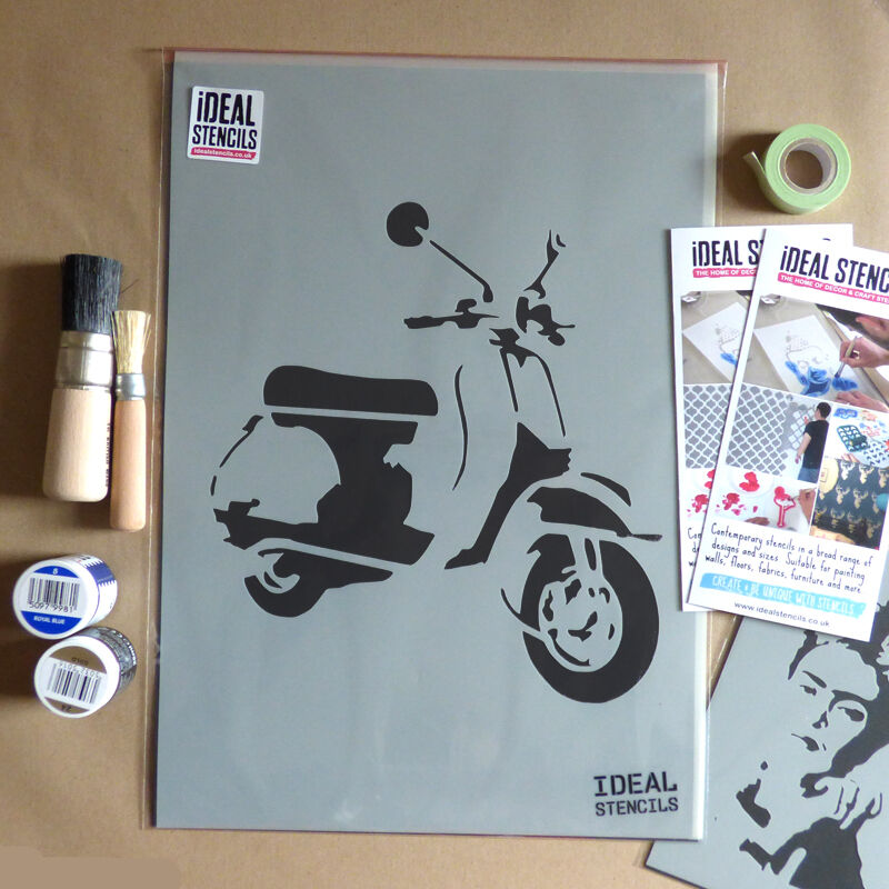 Vespa Motorroller Schablone wiederverwendbar Wandkunst Dekor Kunst Handwerk