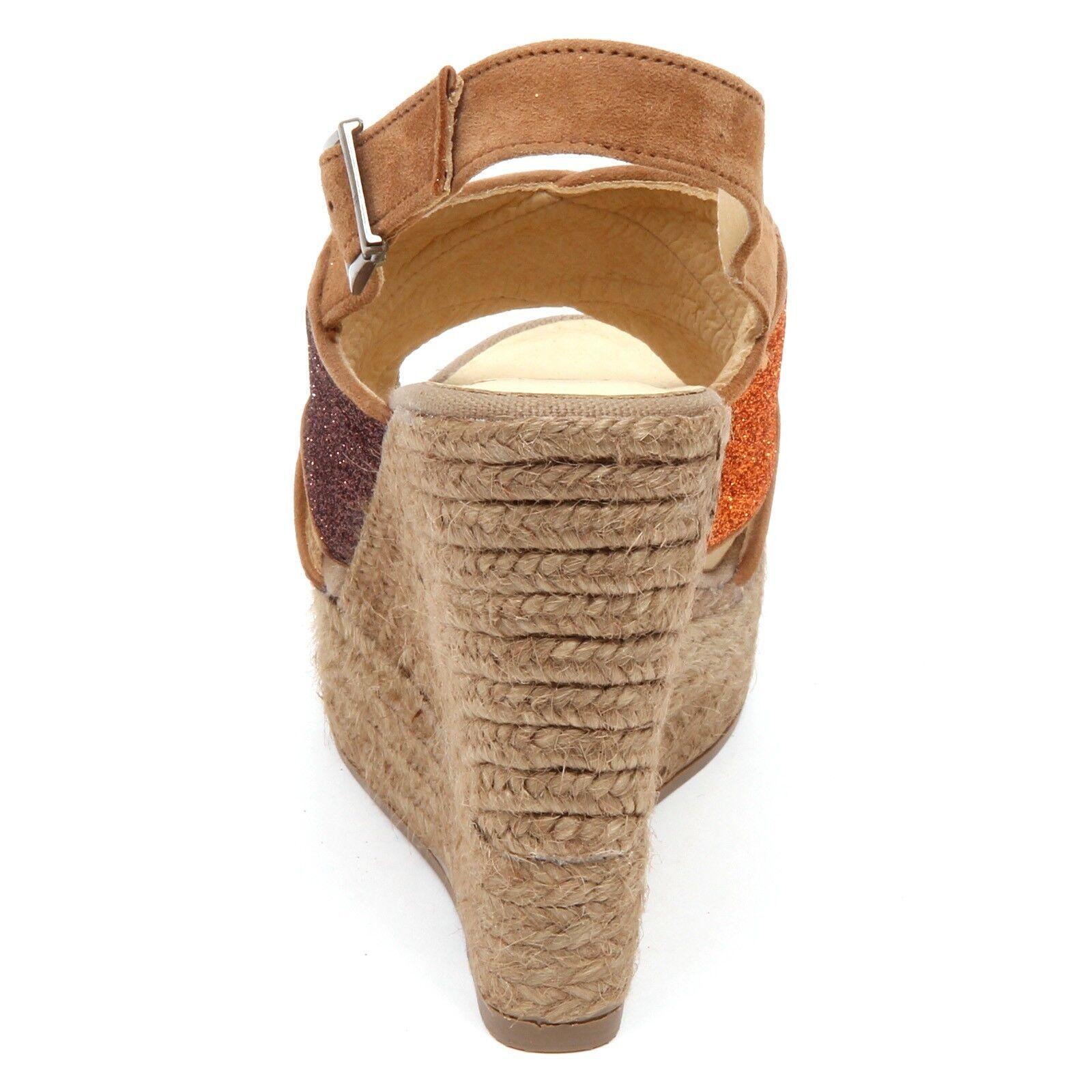 D2560 sandalo donna Marronee Marronee Marronee arancia ESPADRILLES zeppa glitter scarpe woman ee6a00