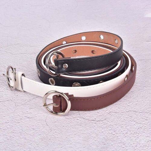 Fashion Women Big Hole Belts PU Leather Metal Pin Buckle Waist Belt Waistband TD