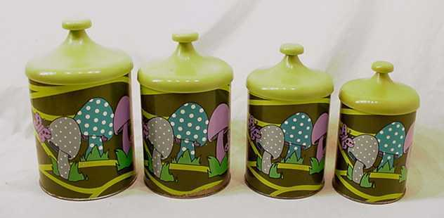 VINTAGE PSYCHEDELIC MERRY MUSHROOM 4 PC CANISTER SET # 9