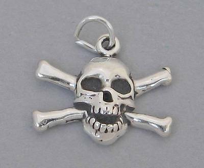 New Sterling Silver Charm Pendant SKULL & CROSSBONES Pirate Halloween 4093