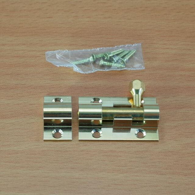 2  CRANKED OFFSET DOOR LOCK BARREL BOLT 150MM POLISHED BRASS WITH SCREWS 1