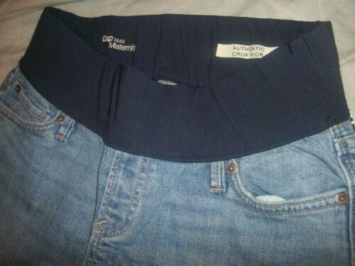 B89 NWOT Womens Gap 1969 Maternity Demi Med Wash Crop Kick Denim Jeans size 28