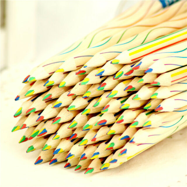 10pcs rainbow color pencil 4 in 1 colored drawing painting pencils