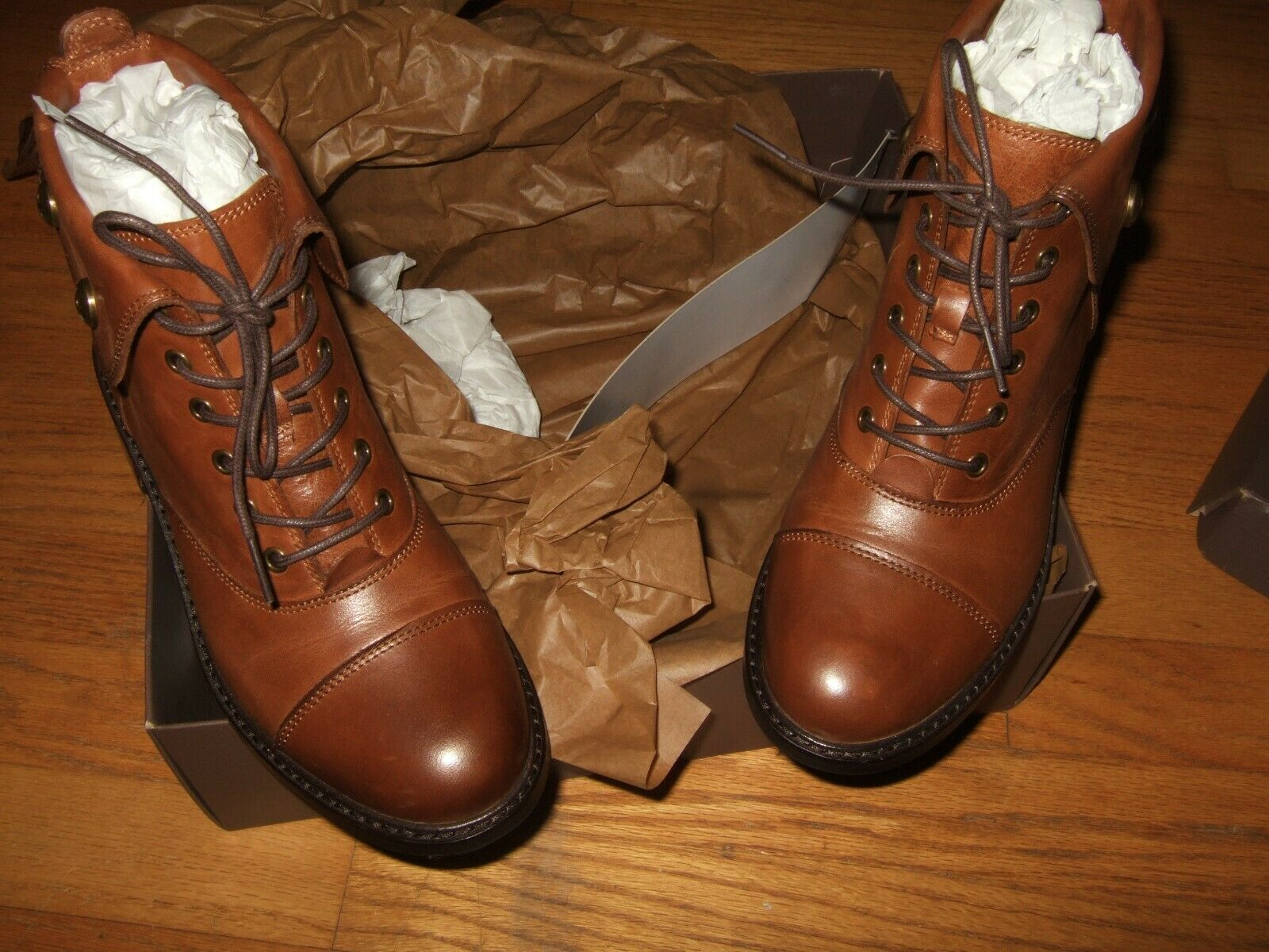 Patricia Nash Lia Lace Up Combat Boots  249 Whiskey, 6.5 US   36.5 EU new w  box