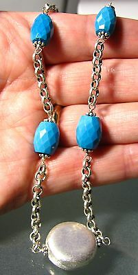 925 silver 24gr faceted turquoise stone & silver beads ethnic necklace.