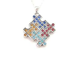 Autism Awareness Crystal Jigsaw Piece Multi Color Necklace Jewellery n4GHfBp