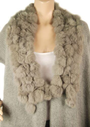 Cardigan Conmigo glamour en fourrure Cd600 véritable gris col avec angora O1SnU1Pqw