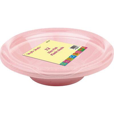 12 x 16oz Pink Plastic Disposable Serving Soup Party Bowl