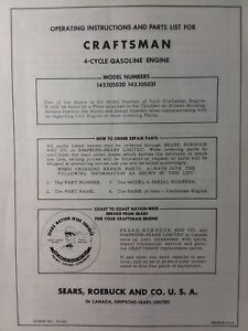 Details about Craftsman 4 5 hp 143 105031 Tecumseh V45 D Engine Tractor  Parts & Service Manual