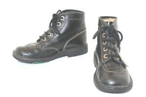 KICKERS-Bottines-amp-Low-Boots-a-Lacets-Cuir-Lisse-Noir-T39-TBE