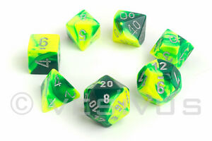 Dice Chessex Gemini Green Yellow 7 Dice Set Marble Shiny D20 D6 D D Neon 26454 601982023096 Ebay