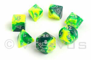 Dice Chessex Gemini Green Yellow 7 Dice Set Marble Shiny D20 D6 D D Neon 26454 601982023096 Ebay