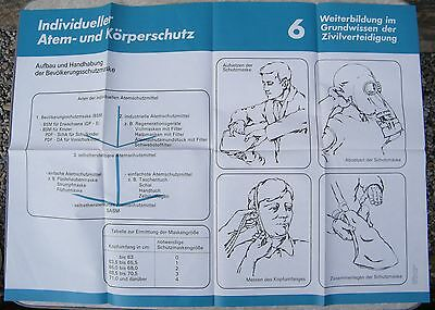 Plakat Ca. A 1, 1986, Zivilverteidigung 6, Anwendung Der Bevölkerungsschutzmaske Hell In Farbe