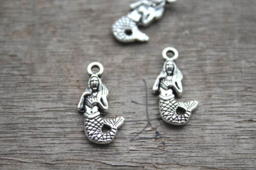 25pcs Mermaid Charms Silver Tone Two Sided Gorgeous onece a upon a time 22x13mm