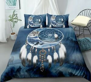 Wolf-Dreamcatcher-Animal-Duvet-Cover-Set-Bedding-Set-With-Pillow-Case-All-Sizes