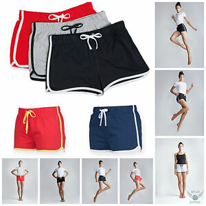 Womens Ladies Girls Retro Shorts Training Fitness Sports Gym ...