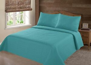 MIDWEST-TURQUOISE-NENA-SOLID-QUILT-BEDDING-BEDSPREAD-COVERLET-PILLOW-CASES-SET