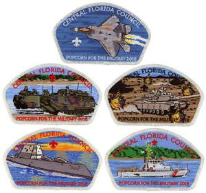 2018-Central-Florida-Council-Popcorn-Military-CSP-Patch-Badge-Set-BSA-Lot-FOS