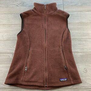 Women-039-s-PATAGONIA-SYNCHILLA-Full-Zip-Fleece-Vest-Brown-M