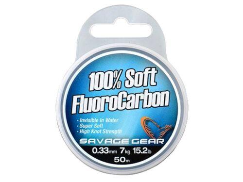 Savage Gear Soft Fluoro Carbon 35m-50m UV-beständig 100/% Fluoro Carbon
