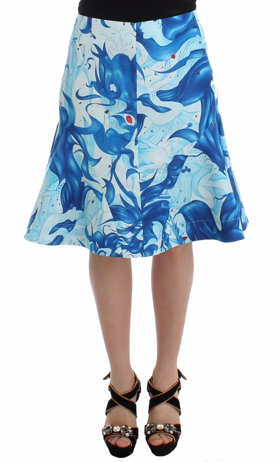 NEW  600 Koonhor Skirt bluee Peplum Fresco-Print Straight Pencil IT 44   US 10