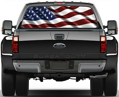 USA American Flag Rear Window Graphic Decal for Truck SUV Vans Minivan Version 2