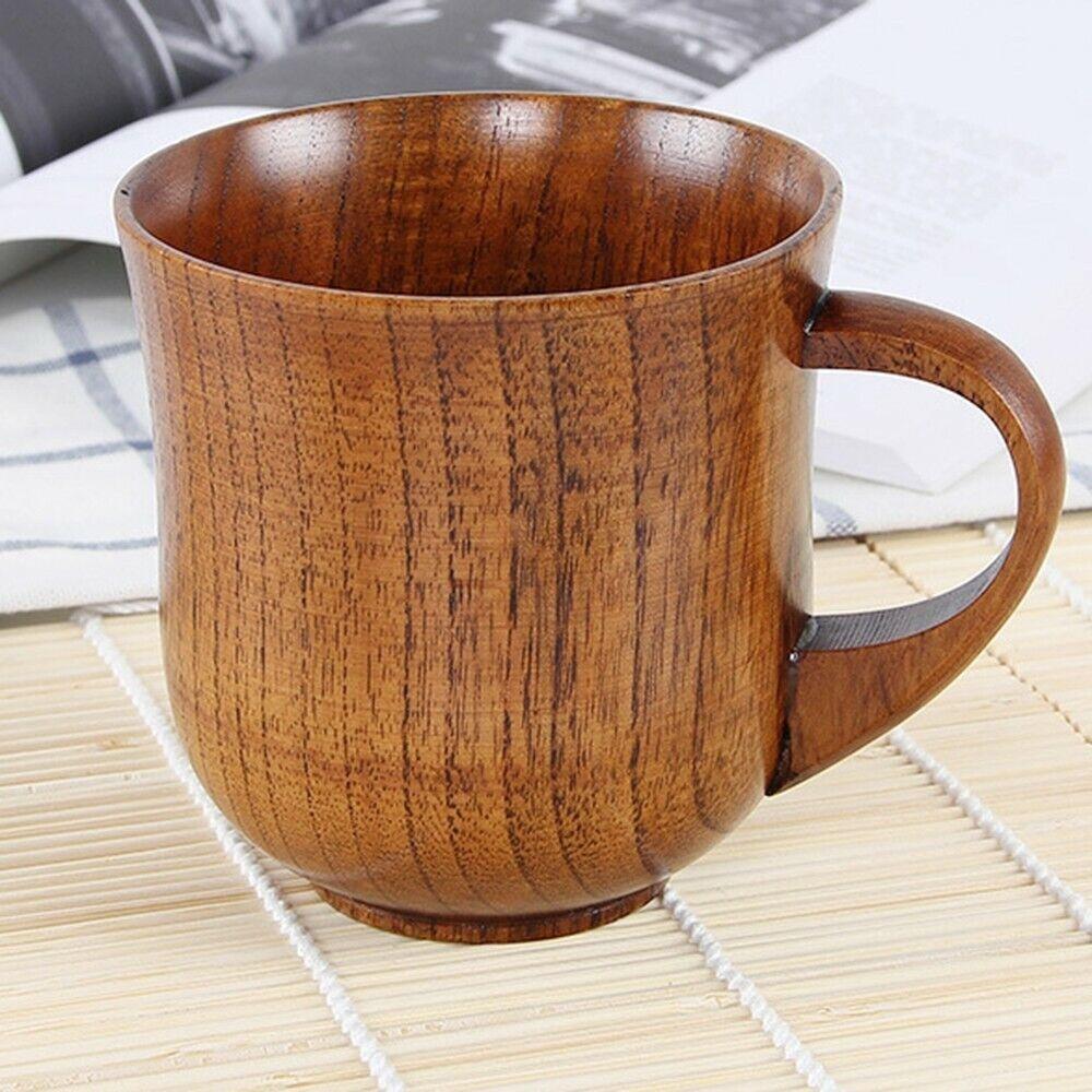 Qu/_ KF/_ Jujube Wooden Cup Handmade Coffee Tea Beer Wine Juice Milk Water Mug Gif
