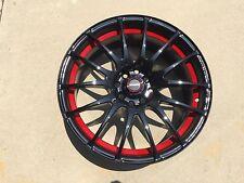 "17"" SPEEDY Wheels Lite Fin Black/ReD 17x7.5 4lug 8hole 4X100 & 4x114 et 45"