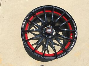 17-034-SPEEDY-Wheels-Lite-Fin-Black-ReD-17x7-5-4lug-8hole-4X100-amp-4x114-et-45