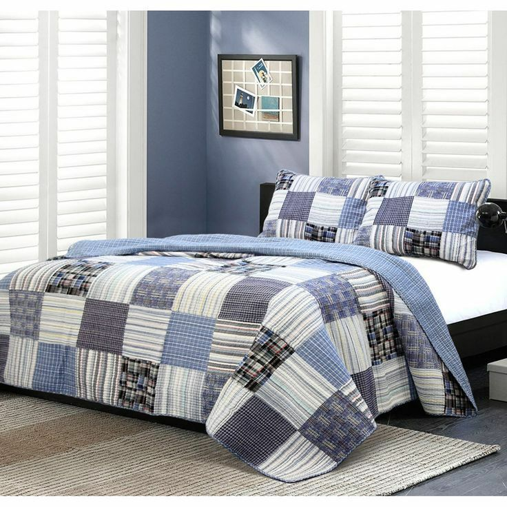 BEAUTIFUL CLASSIC Blau NAVY grau Weiß CABIN PLAID STRIPE SOFT COTTON QUILT SET