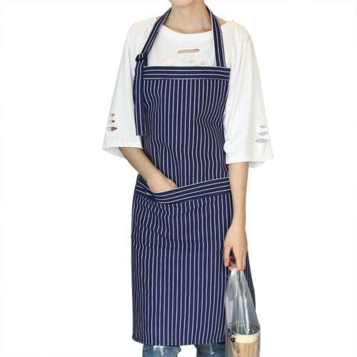GLF Cotton Bib Apron Women Men Stripe Patterns Adjustable Neck Strap Gardening