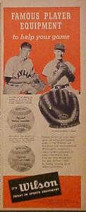 1951-Ted-Williams-Red-Sox-Bob-Feller-Indians-Wilson-Baseball-Gloves-A2210-Ad