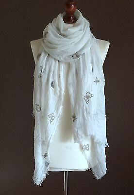 OVERSIZE LADIES SOFT BUTTERFLY PRINT FRAYED FASHION SCARF WHITE 100%VISCOSE