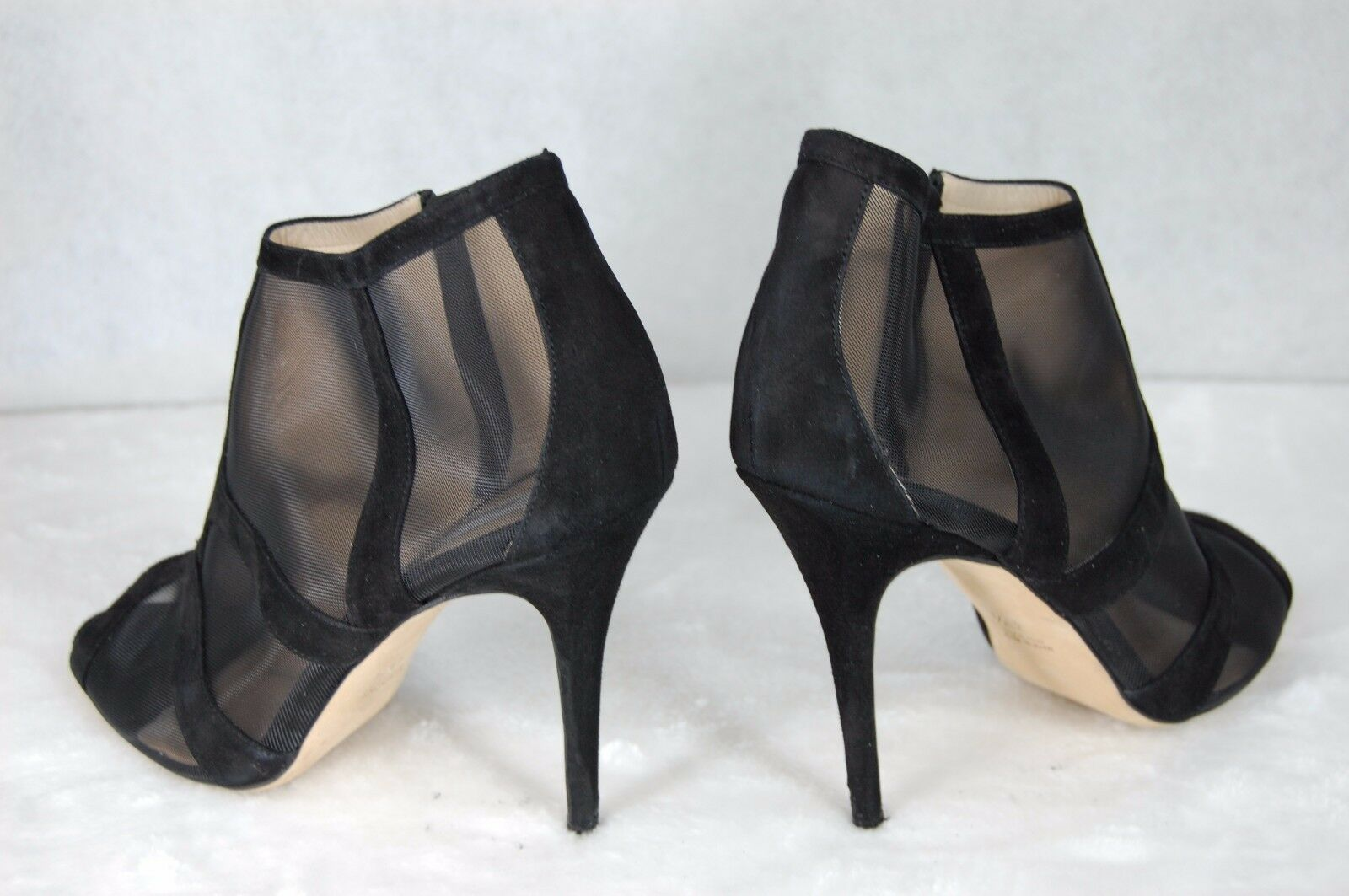 Monique Lhuillier MADE IN ITALY schwarz MESH& SUEDE ANKLE Stiefel EU 40.5 US 10