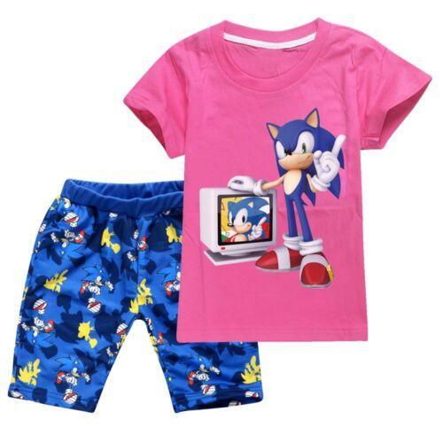 Boy Girls 2Pcs Pyjamas Sonic Hedgehog 100/% Cotton Top T-shirts Shorts Outfit Set