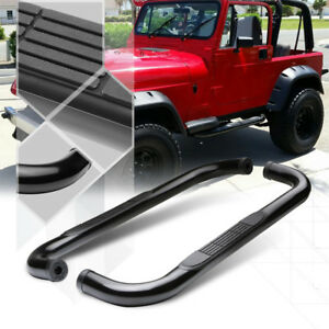 Black-3-034-Round-Tube-Side-Step-Nerf-Bar-Running-Board-for-87-06-Jeep-Wrangler