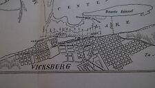 1893 MAP of VICKSBURG HARBOR & MISSISSIPPI River in Vicinity   Original
