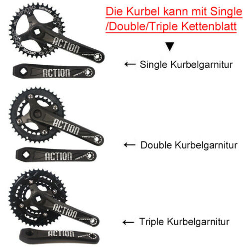 Aluminiumlegierung CNC 104BCD Single// Double//Triple MTB Bike Schwarz Kurbelsatz