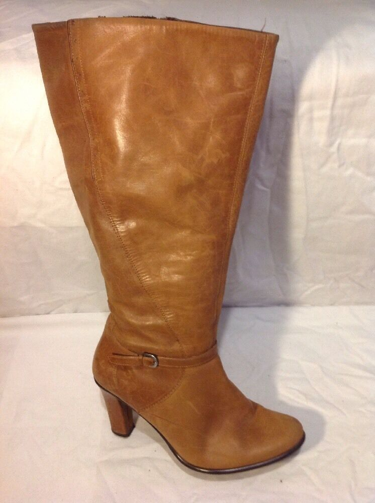 Essence Brown Knee High Leather Boots Size 37