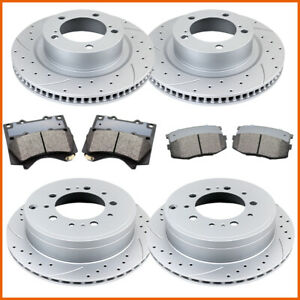 Ceramic Pads For 2007-2019 Toyota Tundra Front+Rear Drill Slot Brake Rotors