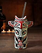 Totem Pole Cocktail Vessel Ceramic Drink Handpainted Mug Cup Gift Barcart