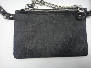 f4bc3b536126 Michael Kors MK Logo BLACK Fanny Pack Belt Bag 554131 SIZE MEDIUM ...