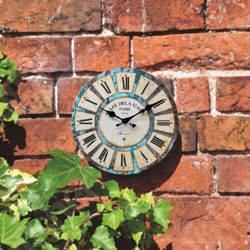 30cm Große Runde Hölzerne Wanduhr Vintage Retro Antik Distressed Style Decor