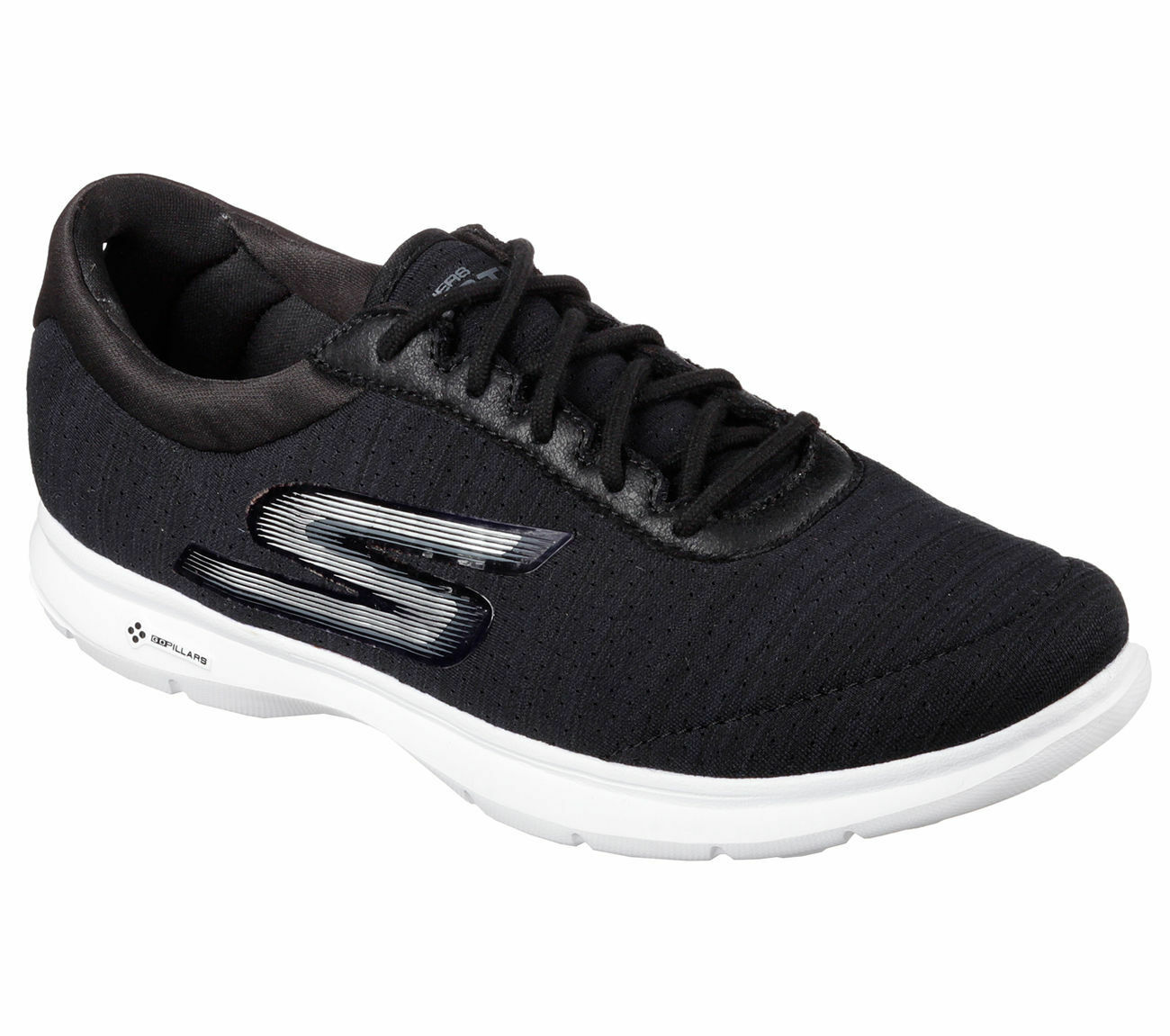 SKECHERS WOMEN'S GO STEP UNMATCHED AIR COOLED MEMORY FOAM 14203 BKW BLACK WEISS