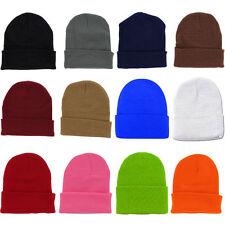 3x Plain Beanie Ski Cap Hat Skull Knit Winter Cuff Pick Your Color Mens & Womens