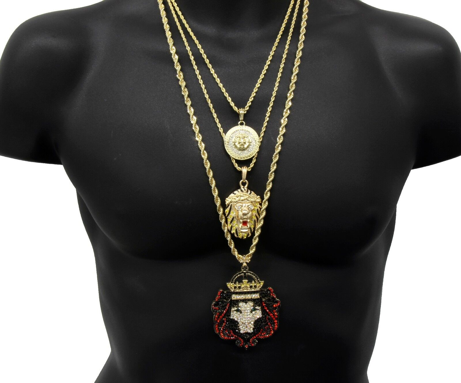 Men's 14k gold Plated Lion Rope Fashion Bundle Includes 3Pendants and 3Chains